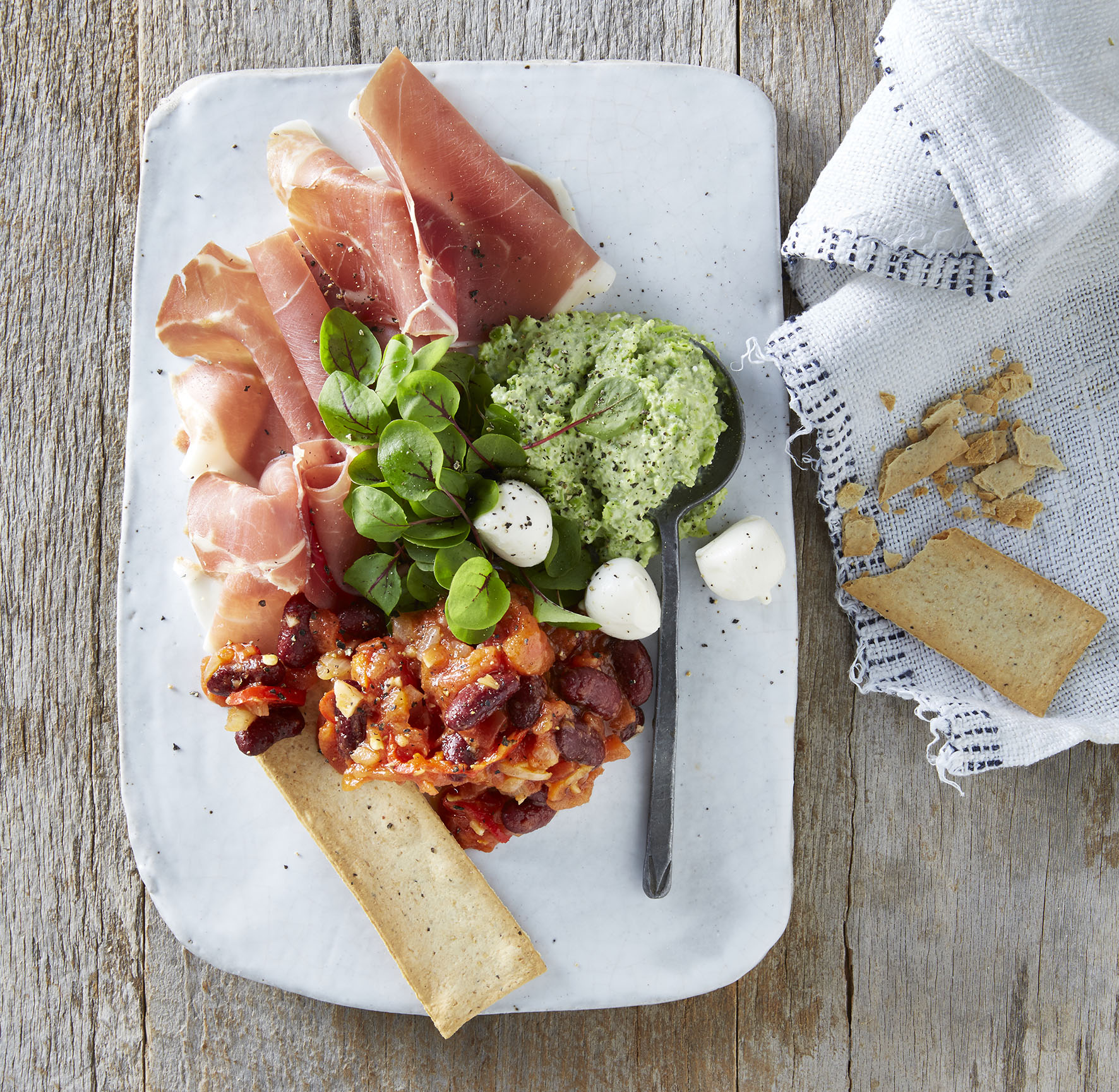 Spicy Tomato Dip with Broadbean, Pea and Feta Dip served with Proscuitto